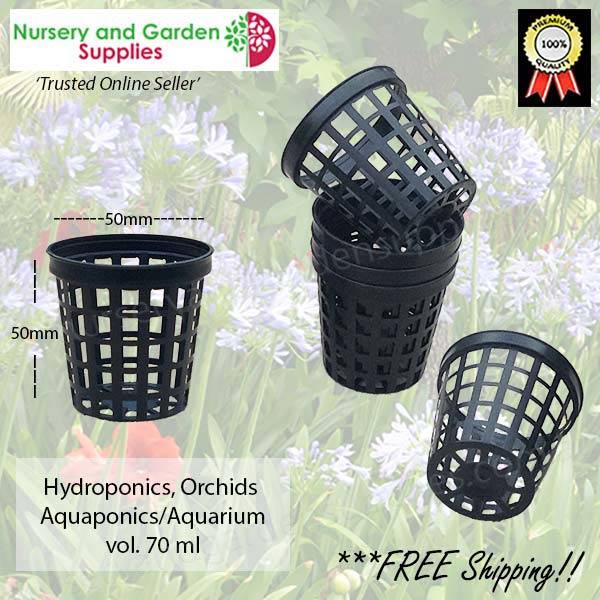 50mm Net Pot Black at Nursery and Garden Supplies NZ - for more info go to nurseryandgardensupplies.co.nz
