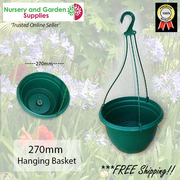 270mm Hanging Basket Green saucerless at Nursery and Garden Supplies NZ - for more info go to nurseryandgardensupplies.co.nz