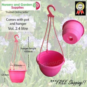 200mm Hanging Basket Pink saucerless at Nursery and Garden Supplies NZ - for more info go to nurseryandgardensupplies.co.nz