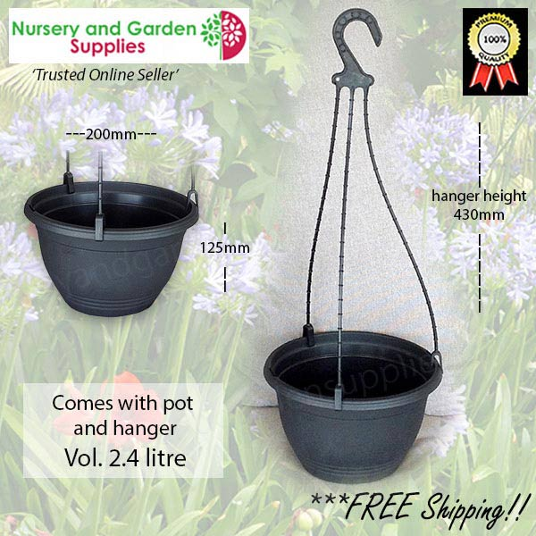200mm Hanging Basket Black saucerless at Nursery and Garden Supplies NZ - for more info go to nurseryandgardensupplies.co.nz