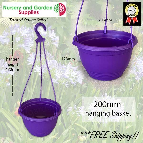 200mm Hanging Basket Purple saucerless at Nursery and Garden Supplies NZ - for more info go to nurseryandgardensupplies.co.nz