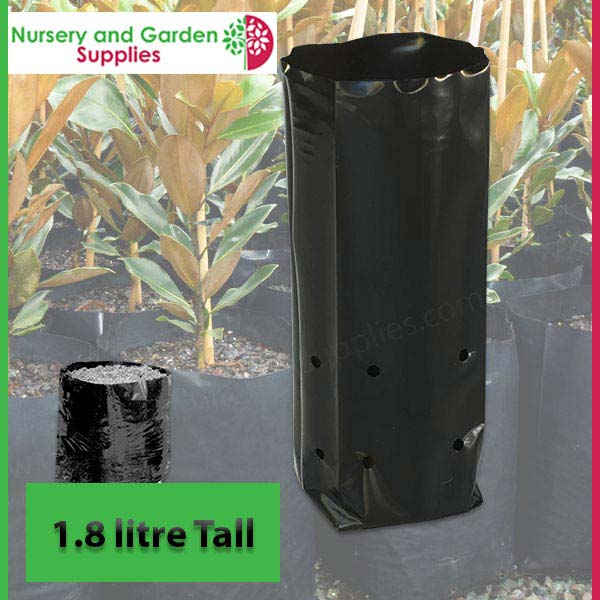 1.8 litre Tall Poly Planter Bags at Nursery and Garden Supplies NZ - for more info go to nurseryandgardensupplies.co.nz