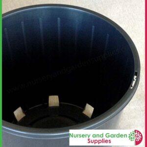 "200mm Plastic Plant Pot 8"" Standard Height Black - for more info go to nurseryandgardensupplies.co.nz"