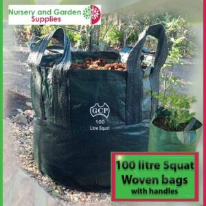 100 litre Squat woven planter bag tree bag at Nursery and Garden Supplies NZ - for more info go to nurseryandgardensupplies.co.nz