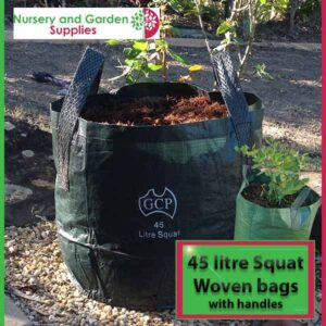 45 litre Squat woven planter bag tree bag at Nursery and Garden Supplies NZ - for more info go to nurseryandgardensupplies.co.nz