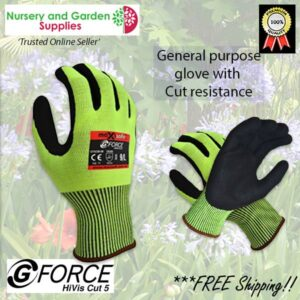 G Force Hi Visibility cut 5 rated Garden Glove at Nursery and Garden Supplies NZ - for more info go to nurseryandgardensupplies.co.nz