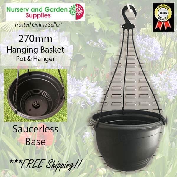 270mm Hanging Baskets Saucerless Black