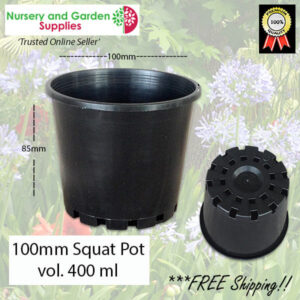 100mm Squat Plant Pot Black