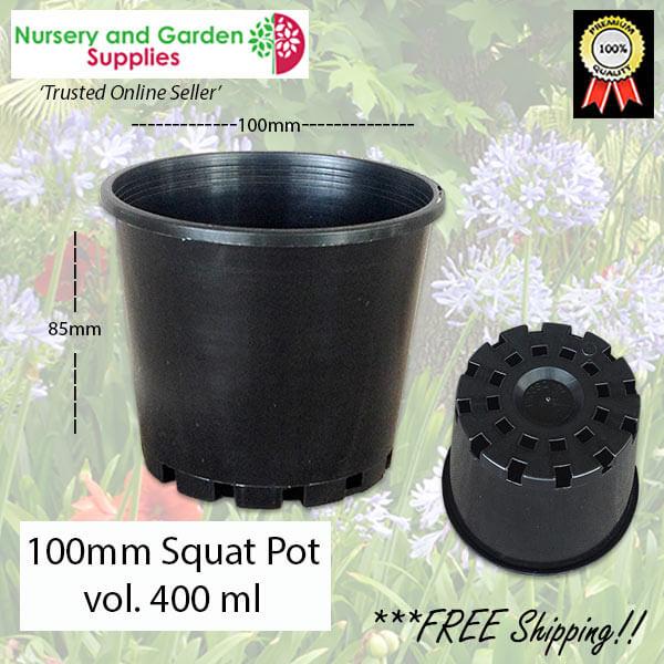 100mm Squat Plant Pot Black