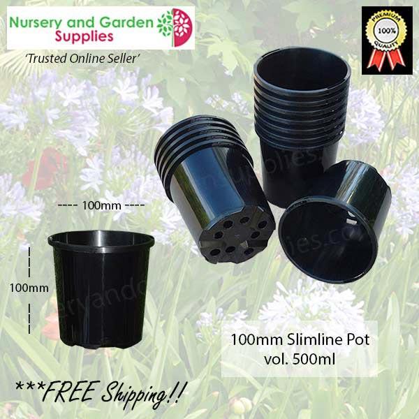 100mm Plastic Pot Slimline Black