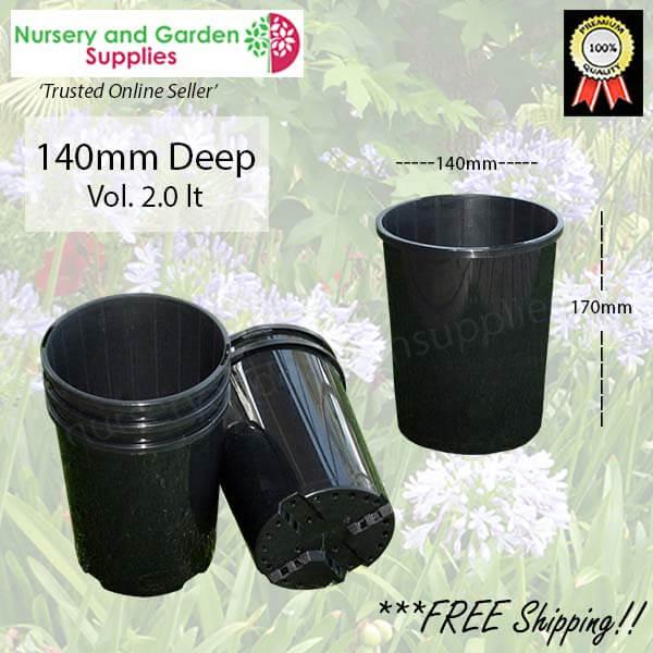 140mm DEEP Plant Pot Black