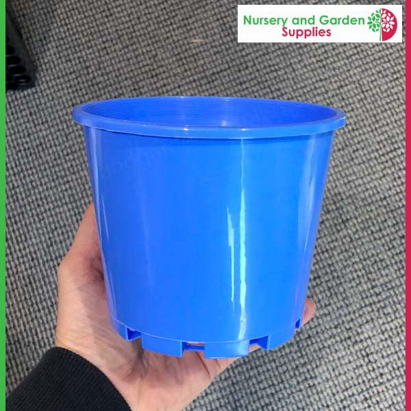 140mm Squat Plant Pot Blue
